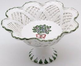 Vintage Handmade Porcelain Reticulated Basket Compote Centerpiece  Portu... - $44.99