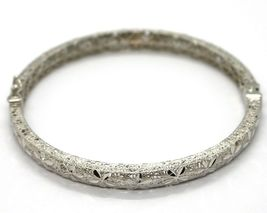 SOLID 18K WHITE GOLD BRACELET, RIGID, BANGLE, FINELY NEST WORKED WITH FLOWERS image 4