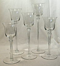 Etched glass votive tea light candle holder set of 5 graduated heights  - $12.34