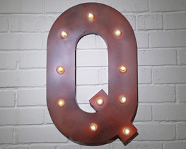 Letter Q - SOLAR POWERED Rustic Vintage Metal Alphabet Marquee Light Up ... - $123.75+