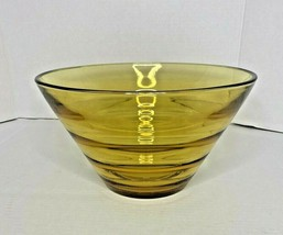 "Large 10"" by 7"" Amber Glass  Pattern Bowl over 4lbs - Mid Century Modern - $19.31"