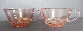 2 Lot Pink Old Colony Lace Edge Coffee Tea Cups Anchor Hocking Depressio... - $25.50