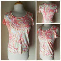 Talbots Femmes Tricot T-Shirt Decolleté Œillet Bordure Rose Florale Manche - $36.43