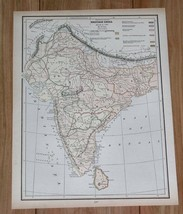 1890 ANTIQUE HISTORICAL MAP OF BRITISH INDIA SINCE 1751 / VERSO MAP OF I... - $10.89