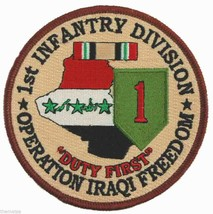 """Army 1ST Infantry Duty First Operation Iraqi Freedom 4"""" Ribbon Embroidered Patch - $18.04"""