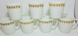 Vintage Pyrex Butterfly Gold D Handle Mugs 1410 Cups Milk Glass Set Of 7 - $19.75