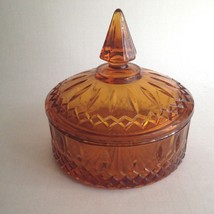 "Vintage Gold Glass Candy Bowl Dish w/Lid 6"" Round 5.5"" Tall Mid Century ... - $10.73"
