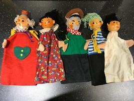 Antique Austria 5 Wooden Hand Puppets Hand Painted One Hat Marked Dienst... - $223.20