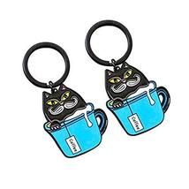 Set of 2 Creative Lovely Vintage Style Key Chain/Car Key Ring(Cup&Cat)
