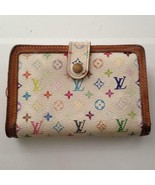 Louis Vuitton Multi-color White Compact Kisslock Bifold Wallet 5.5inx4in... - $213.70