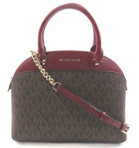NEW MICHAEL KORS EMMY LARGE DOME SATCHEL CHERRY BROWN LEATHER BAG CROSSBODY - $140.00