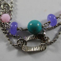 .925 RHODIUM SILVER DOUBLE WIRE BRACELET WITH TURQUOISE, AMETHYST AND QUARTZ image 2