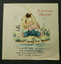 Vintage 1946 Birthday Greeting Card Hallmark Hall Bothers Inc Signed/Use... - $32.99