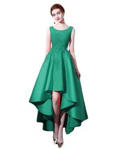 High Low Prom Dress Lace Applique Bridesmaid Dresses Sleeveless Homecoming Gown - $115.99