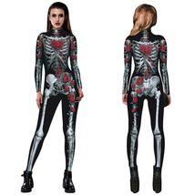 Women Sexy Printed Rose Skull Skeleton Catsuit Halloween Costume - $24.06