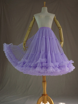 Women Full MIDI Tulle Skirt Purple High Waist Tutu Midi Skirt Ballet Dance Skirt