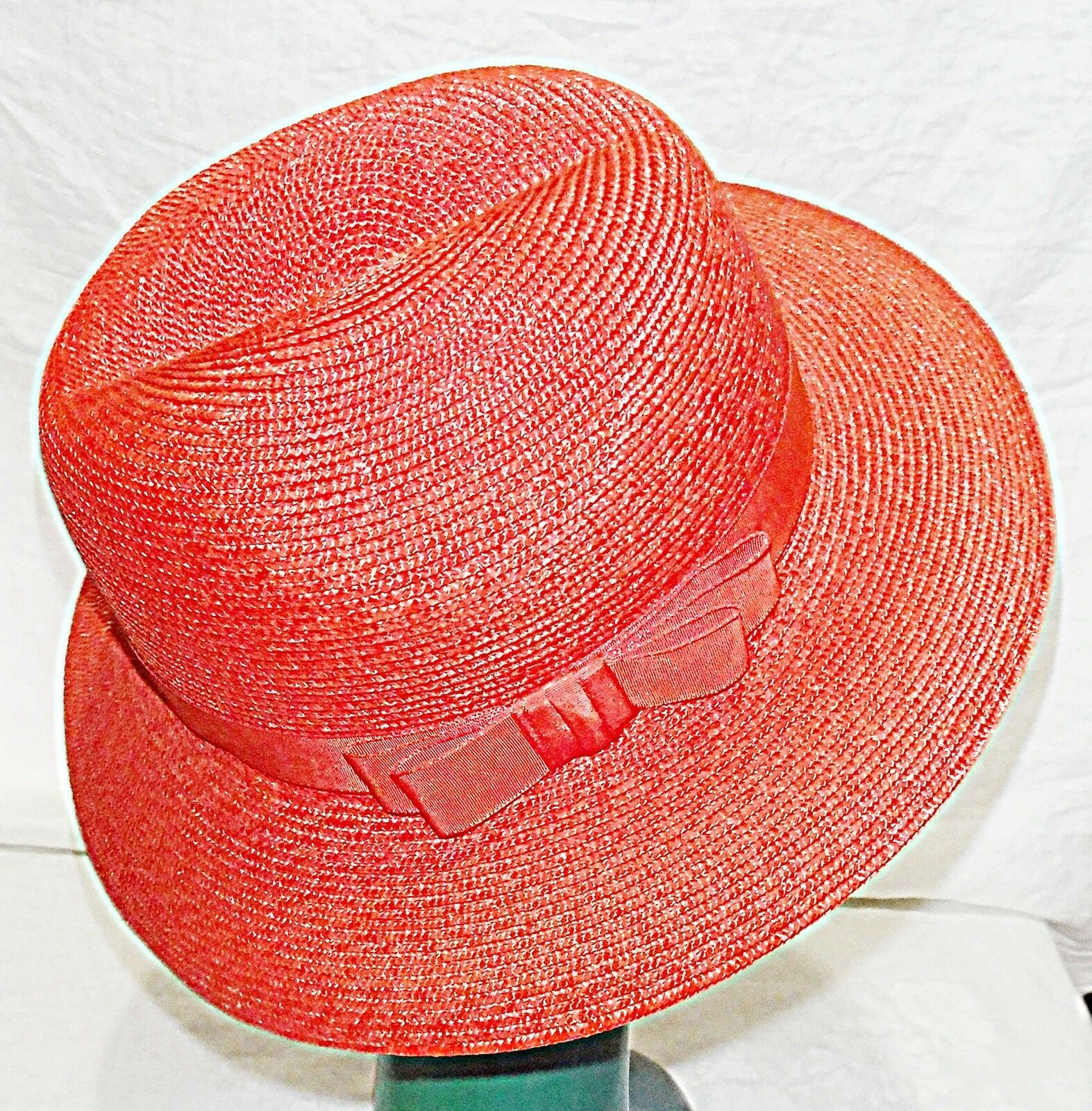 *GORGEOUS LADIES TRILBY IN HOT CORAL ORANGE VIBRANT CHIC HAT STRAW CORDED BAND