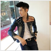 [Asia Size] Men's Fashion Korean Slim Fit Jeans Jackets Spicing Male Dre... - $75.48