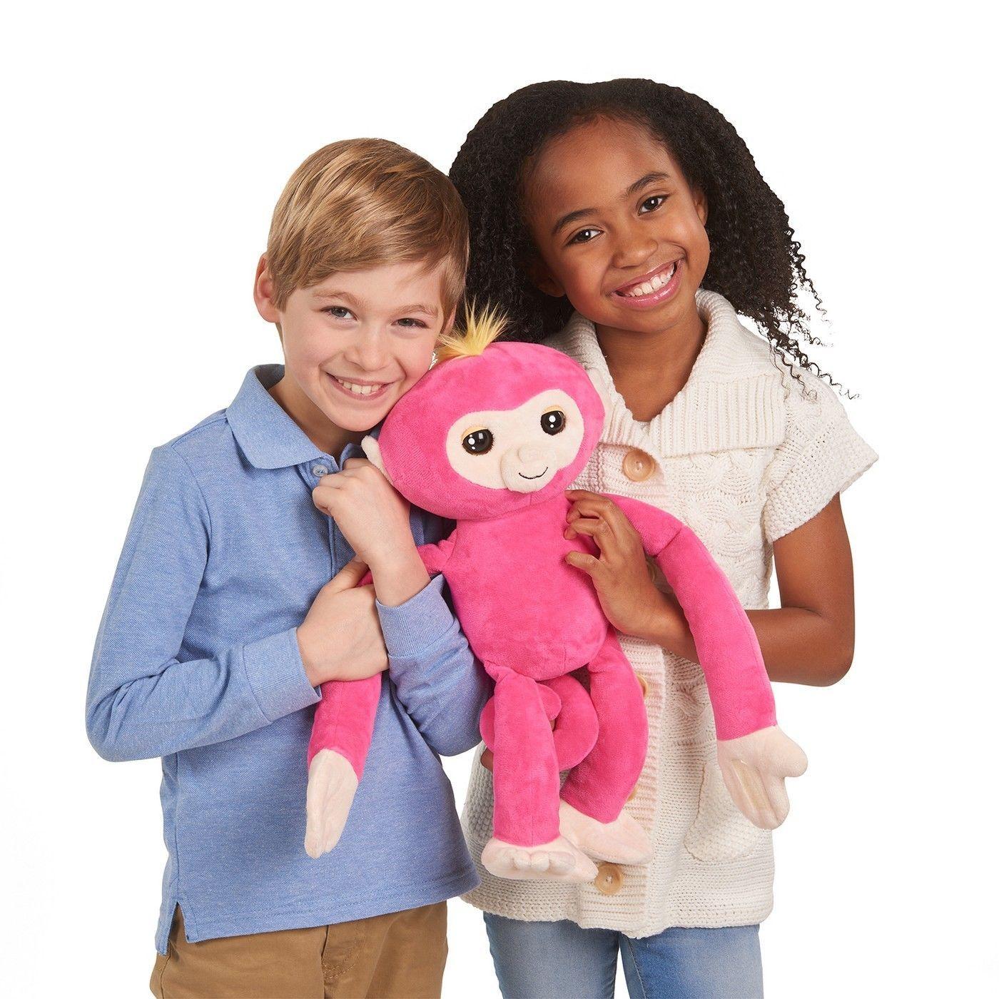 WooWee Fingerlings HUGS - Bella Pink- Friendly Interactive Plush Monkey Toy