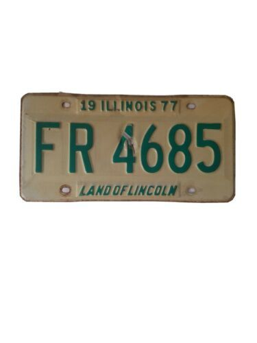 Original 1977 Illinois Land of Lincoln License Plate