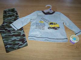 Size 12 Months 2 Piece Pajamas Set Camo Camouflage Pants Dozer Loader Ve... - $14.00