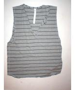 NWT Womens Lululemon New Yogi Cut Off Tee Top Shirt 10 12 Stripes Gray Y... - $48.00