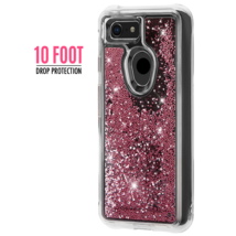 CaseMate Waterfall Case for Google Pixel 3 Rose Gold Pink Glitter Beads NEW image 2