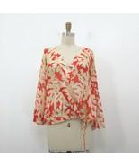2 / S - Diane Von Furstenberg Tenko Orange Beige Patterned Sheer Top 0504KD - $27.00