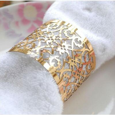 Primary image for 250pcs Laser Cut Napkin Ring Metallic Paper Napkin Rings for Wedding Decoration