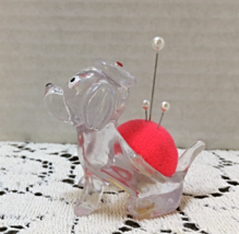 Vintage KITSCHY Clear Lucite Plastic Dog Pin Cushion // Retro Sewing Supplies image 2