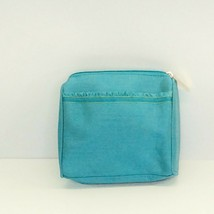 Estee Lauder Cosmetic Bag Travel Turquoise Blue Ruffle Zipper - $11.83