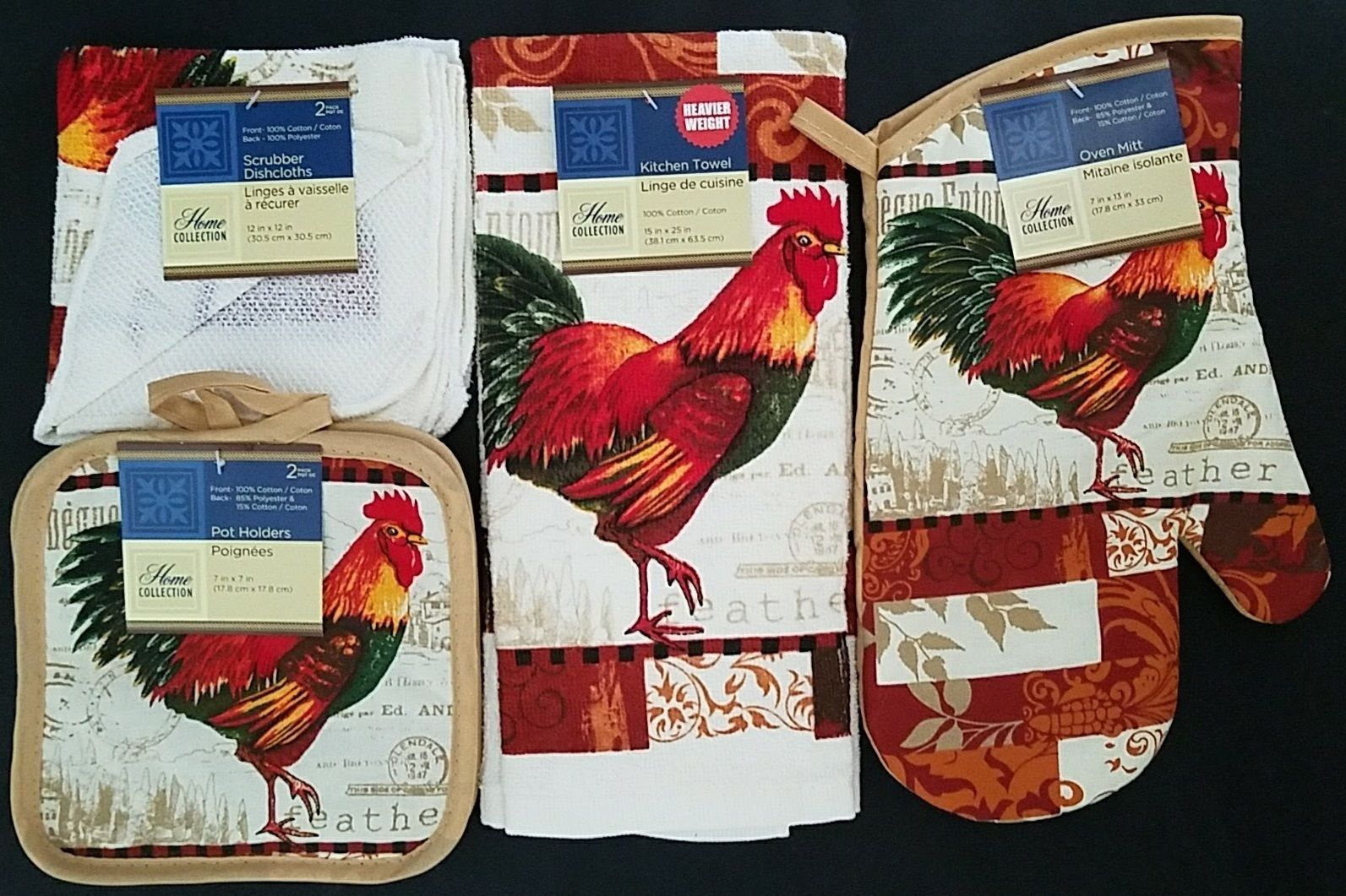 ROOSTER Theme KITCHEN SET 7 Pc Towels Oven Mitt Potholders French Country  NEW