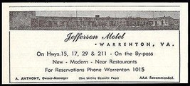 Jefferson Motel Ad Warrenton Virginia 1953 Roadside Photo Ad Travel - $10.99