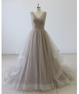 V neck A-line Tulle Prom Dress Pleated Floor Length Women Evening Gowns ... - $199.00