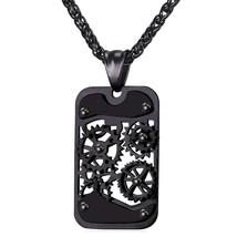 U7 Men Steampunk Jewelry Cool Gear Pendant Dog Tag Necklace - $29.99