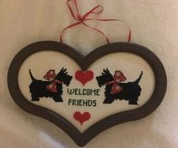 Scottish Terriers Needle Point Wall Plaque Door Hanging Heart Shaped - €31,55 EUR