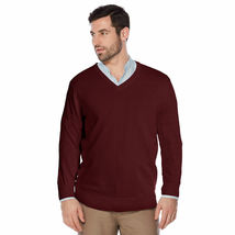Berlioni Italy Men's Premium Slim Fit Microfiber V-Neck Dress Pullover Sweater image 4
