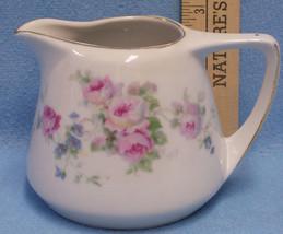 Vintage GHO G H O  Bavaria Germany Creamer Pink Rose on White w/ Blue & ... - $13.85