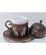 11 Pcs Handmade Ottoman Turkish Coffee &Espresso Copper/ Brass look &Por... - $41.39+
