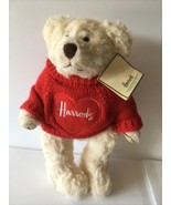 Harrods of London jointed Cream Teddy Bear Red Sweater Large Padded Feet - $29.75