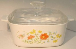 Vintage Corning Ware Wildflower Poppy 1.5 qt Retired Casserole Dish Lid ... - $31.67