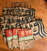 (25) Starbucks Reusable Brown Kraft Paper Shopping Lunch Gift Bags With ... - $14.85