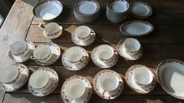 47 Piece Haviland Limoges Tea Cup Fruit Bowl Service Set Pink Yellow Blue - $554.40