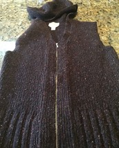Talbots Ladies Sweater Hood Speckled Brown Small Made In Italy Wool Blen... - $16.62