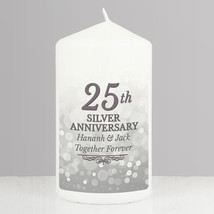 Personalised 25th Silver Anniversary Pillar Candle made to order