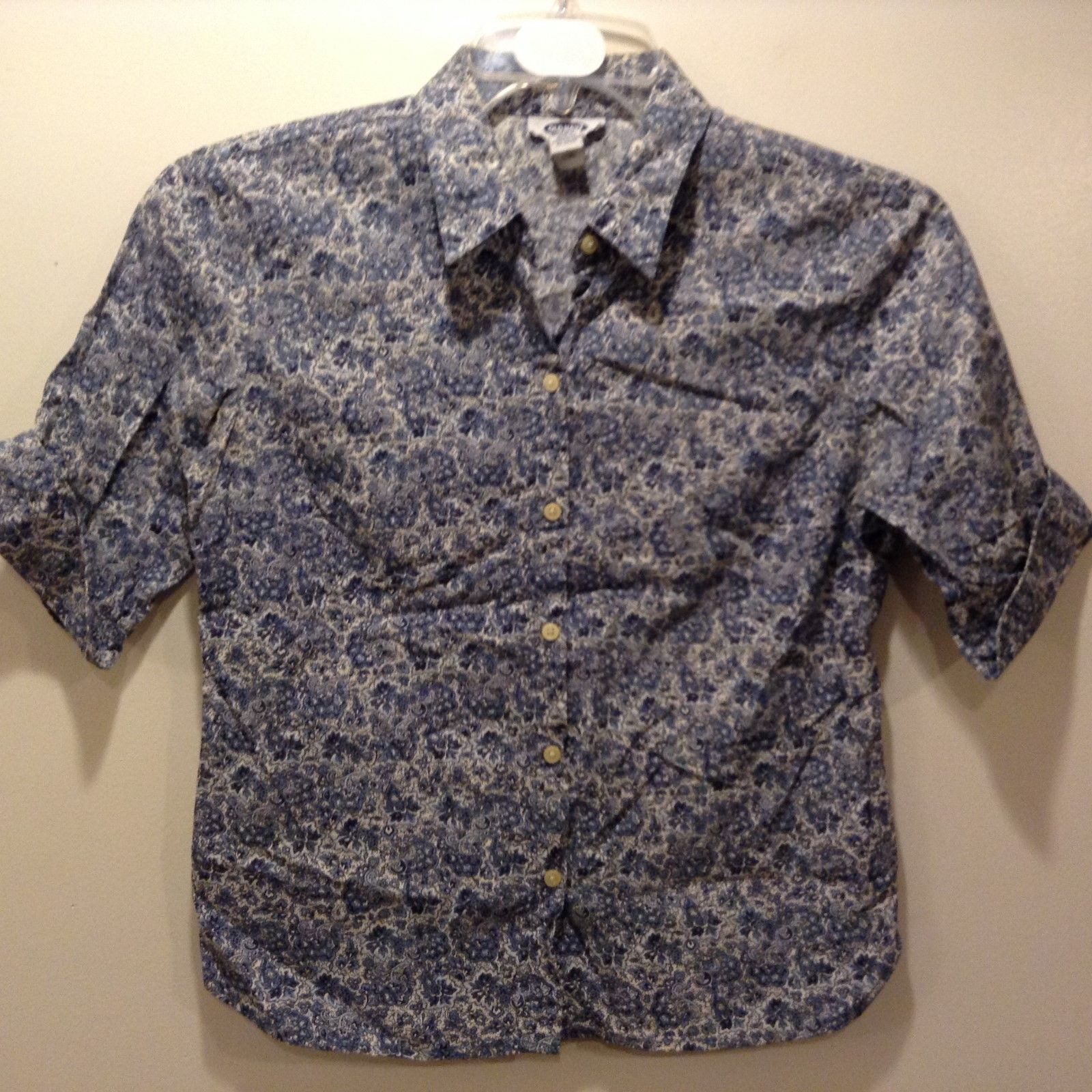 Old Navy Ladies Blue/White Short Sleeve Button Down Floral Print Blouse Sz S