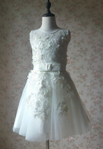 WHITE Lace Tutu High Waist Dress White Knee Length Wedding Flower Girl Dress NWT image 4