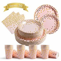 200Pcs Pink Disposable Paper Plates Cups Napkins Set - Pink and Gold Party Suppl