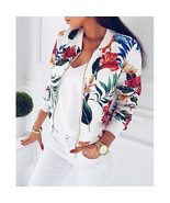 M-5XL Women Bomber Jacket Retro Floral Print Coat Zipper Up Plus Size Lo... - $35.52+