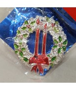 "Vintage Joybrite Wreath Christmas Ornament Sealed 3"" Plastic Silver Red ... - $14.56"